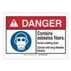 Brady 144936 Danger Sign, Asbestos, B-302,3-1/2in.H