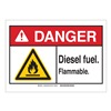 Brady 144969 Danger Sign, Diesel Fuel, B-302,3-1/2in.H