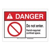 Brady 143709 Danger Sign, Permit-Req, B-302,3-1/2in.H