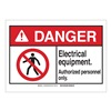 Brady 144458 Danger Sign, Elec Equipm, B-302,3-1/2in.H