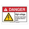 Brady 144380 Danger Sign, HV Contact, B-302,3-1/2in.H