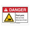 Brady 143913 Danger Sign, Pinch Points, B-302,3-1/2in.H
