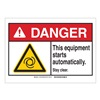 Brady 144071 Danger Sign, Stay Clear, B-302,3-1/2in.H