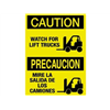 Brady 38430 Caution Sign, 14 x 10In, BK/YEL, Bilingual