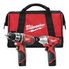 Milwaukee 2497-22 HDrill/impact Driver Combo Kit, 12V, 6Pc