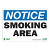 Zing 1135A Smoking Area Sign, 7 x 10In, BL and BK/WHT