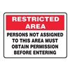 Accuform MADM915VP Admittance Sign, 7 x 10In, R and BK/WHT