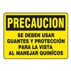 Accuform MSPP627VA Caution Sign, 7 x 10In, BK/YEL, AL, Spanish