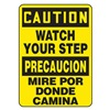 Accuform MSPS628VP Caution Sign, 14 x 10In, BK/YEL, PLSTC, Text