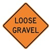 Lyle W8-7-BO-30HA Loose Gravel Sign, 30 x 30In, BK/ORN