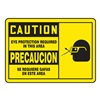 Accuform MSPP610VS Caution Sign, 10 x 14In, BK/YEL, Bilingual
