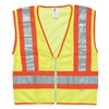 Ml Kishigo T146/2X Vest, Safety, 2XL, Zip, Hi-Vis Orng, Slvr Ref