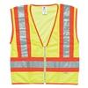 Ml Kishigo T146/2X Vest, Safety, 2XL, Zip, Hi-Vis Orng, Slvr Ref