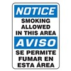 Accuform Signs MSSM800VP Smoking Area Sign, 14 x 10In, PLSTC, Text