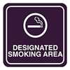 Intersign 62187-1 BLACK Smoking Area Sign, 5-1/2 x 5-1/2In, WHT/BK