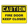Accuform MEXT601VA Fire Door Sign, 7 x 10In, BK/YEL, AL, ENG