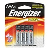 Energizer E92BP-4 Battery, AAA, Alkaline, PK 4
