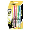 Bic BICB4P51ASST Highlighter Set, Flour, Rubber Grip, 5 Pc