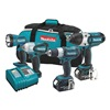 Makita LXT421 Cordless Combination Kit, 3.0A/hr., Li-Ion