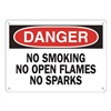 Approved Vendor 15J009 Sign, 10X14, DangerNo SmokingNoOpen, A.