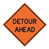 Usa-Sign 669-C/48-RVFO-DA Traffic Sign, Detour Ahead, H 48 In.