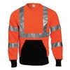 Tingley S78029 Hi-Viz Crew Neck Swtshrt, Org/Blk, PET, XL