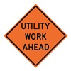 Usa-Sign 669-C/48-MFO-UW Traffic Sign, Utility Work Ahead, H 48 In.