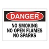 Approved Vendor 15J008 Sign, 10X14, Danger No Smoking No Open, S.