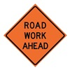 Usa-Sign 669-C/48-RVFO-RW Traffic Sign, Road Work Ahead, H 48 In.