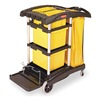 Rubbermaid FG9T7300BLA Microfiber Janitor Cart, Black, Plstc/Alum