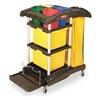 Rubbermaid FG9T7400BLA Microfiber Janitor Cart, Black, Plstc/Alum