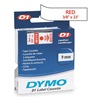 Dymo 40915 Labels, White/Red, 23 ft. L, 3/8 In. W