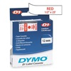 Dymo 45015 Labels, White/Red, 23 ft. L, 1/2 In. W