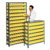 Edsal 2960 Bin Shelving, Solid, 36X24, 60 Bins, Yellow