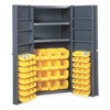 Edsal BC6203G Bin Storage Cabinet, 64 Bins, 8 Shelves