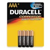 Duracell MN2400B4Z Battery, Alkaline, AAA, PK 4