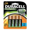 Duracell DC1500B4N Rechargeable Battery, 2450mAh, AA, PK 4