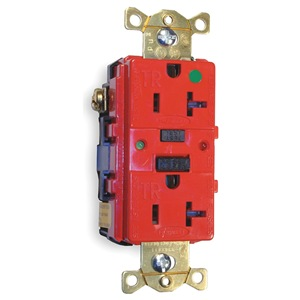 Hubbell Wiring Device-Kellems GFCI Receptacle, 20A, Hospital, AutoGrd, Red at Sears.com