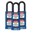 Zing 7088 Lockout Padlock, KA, Blue, 1/4 In., PK3