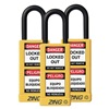 Zing 7092 Lockout Padlock, KA, Yellow, 1/4 In., PK3
