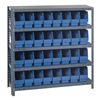 Quantum Storage Systems 1239-201BL Bin Shelving, Solid, 36X12, 32 Bins, Blue
