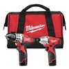 Milwaukee 2494-22 Cordless Combination Kit, 1.5A/hr., 12.0V