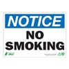 Zing 1133A Notice No Smoking Sign, 7 x 10In, ENG, Text
