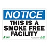 Zing 1136A Notice No Smoking Sign, 7 x 10In, ENG, Text