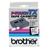 Brother TX2511 Label Tape, Black/White, 50 ft. L, 1 In. W