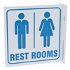 Zing 2537 Restroom Sign, 7 x 7In, BL/WHT, English