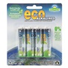 Eco Alkalines ECOAA4 Battery, Alkaline, AA, PK 4