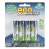 Eco Alkalines ECOAA4 Battery, Alkaline, AA, PK 4