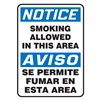 Accuform Signs SBMSMK806VS Smoking Area Sign, 14 x 10In, Vinyl, Text