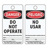 Electromark 5010-V-B Danger Bilingual Tag, 5-3/4 x 3 In, PK25